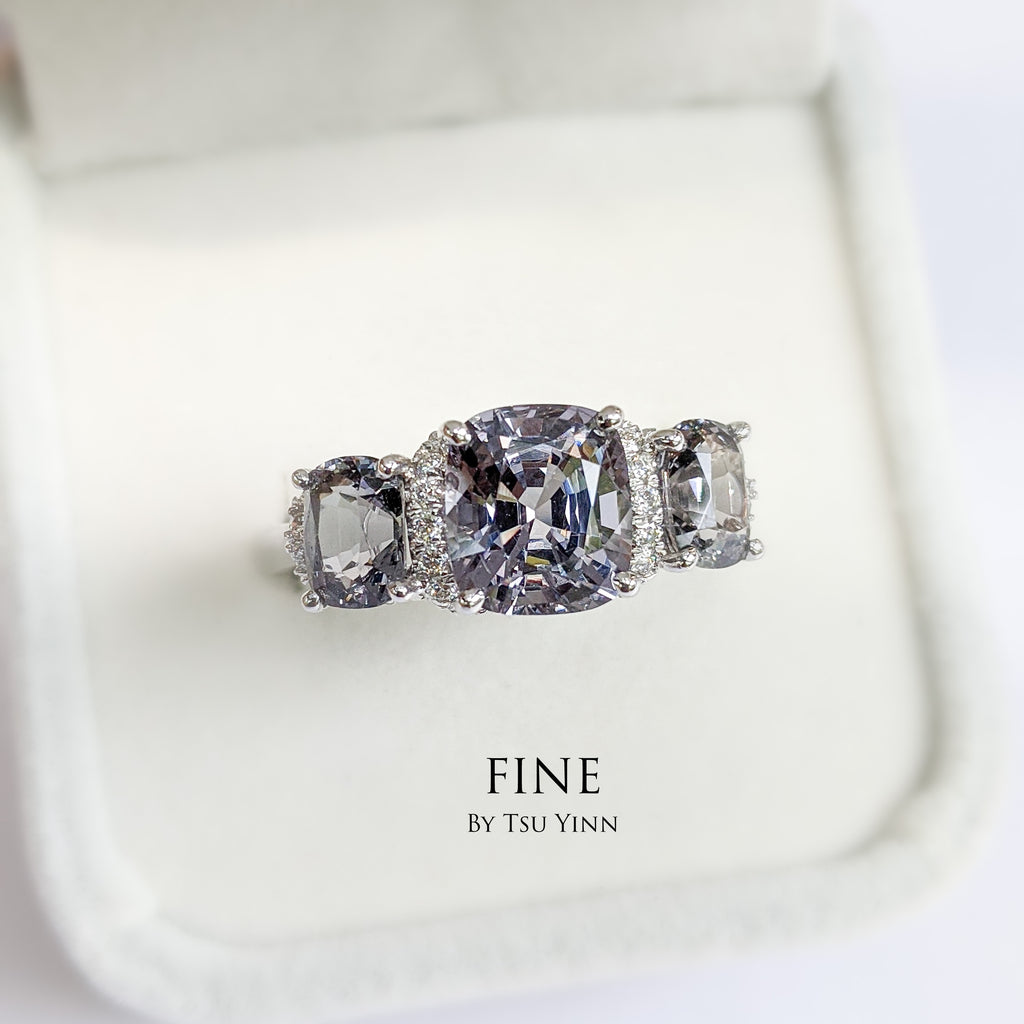 Grey Spinel Diamond Ring