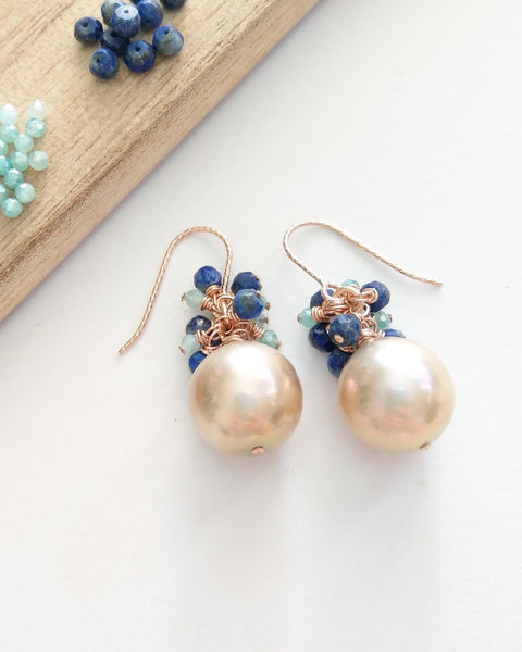 Peach Pearl Earrings (Rose Gold) - Mystic Amazonite and Lapis Lazuli