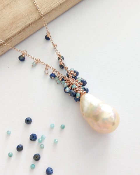 Peach Baroque Pearl Drizzle Necklace (Rose Gold) - Mystic Amazonite and Lapis Lazuli