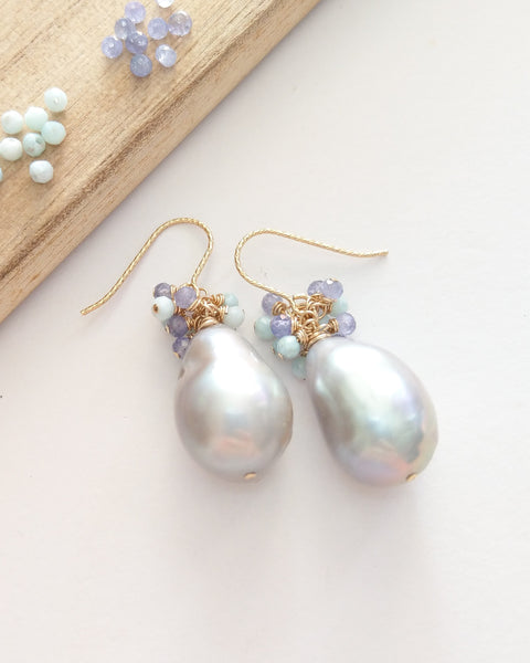 Grey Baroque Pearl Earrings (Gold) - Larimar and Tanzanite