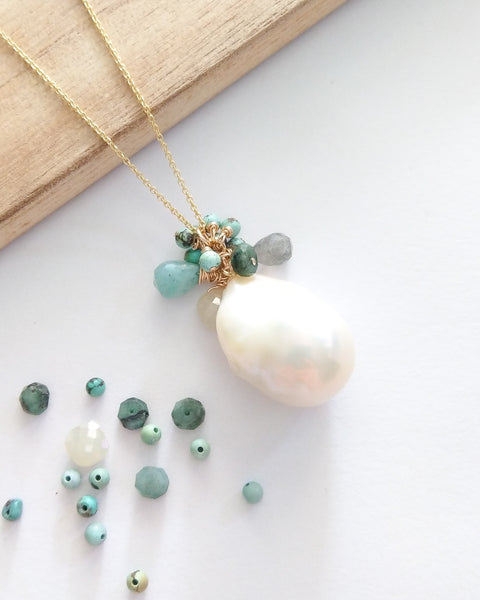 White Baroque Pearl Necklace (Gold) - Turquoise, Pale Yellow Sapphire, Labradorite, Emerald and Amazonite