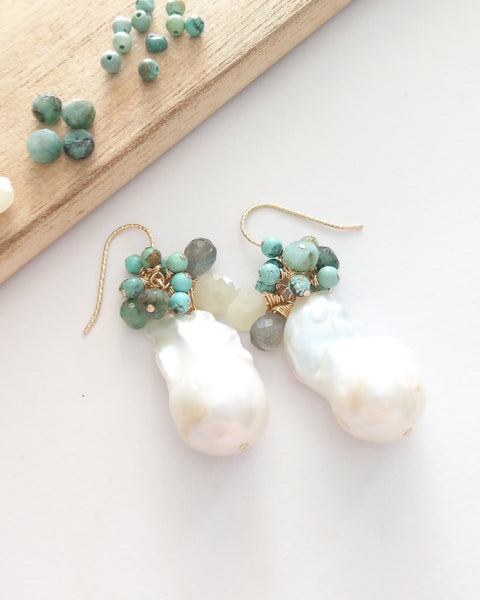 White Baroque Pearl Earrings (Gold) - Turquoise, Pale Yellow Sapphire, Labradorite, Emerald and Amazonite