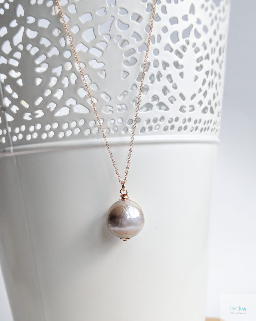 Mauve Pearl Necklace (Rose Gold) - 2 types