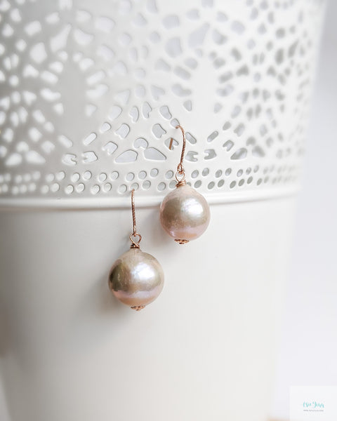 Mauve Pearl Earrings (Rose Gold) - textured hooks