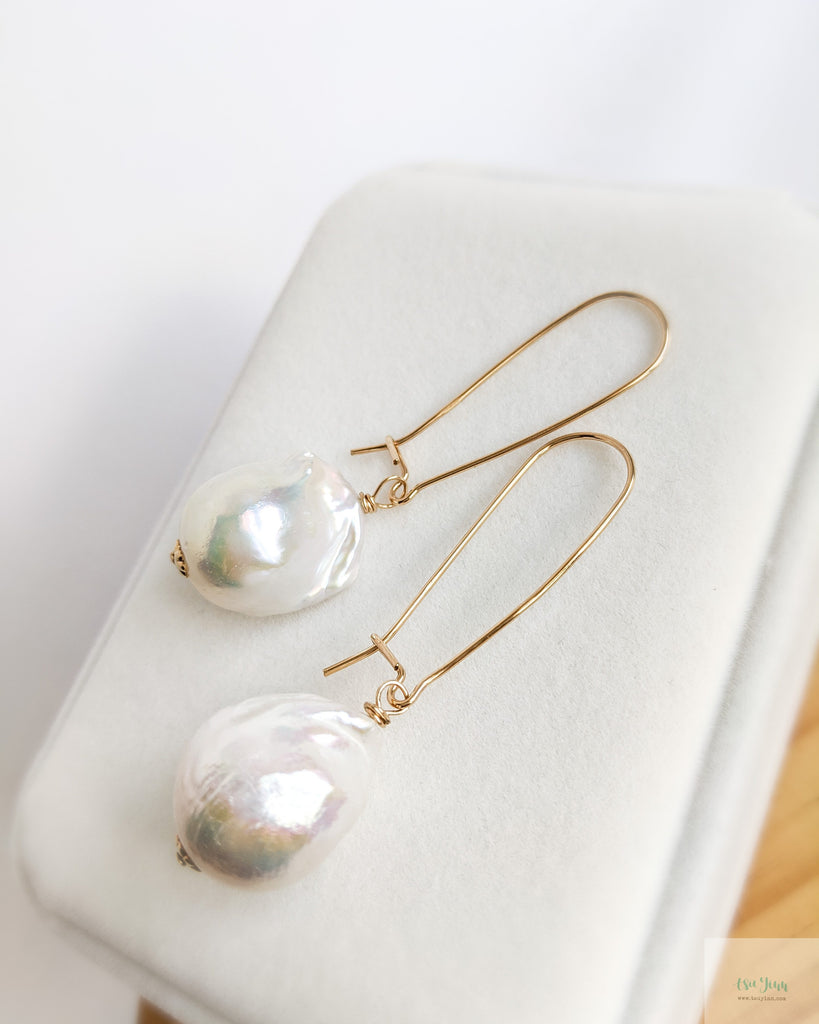 White Baroque Pearls Earrings (Gold) on kidney ear wires