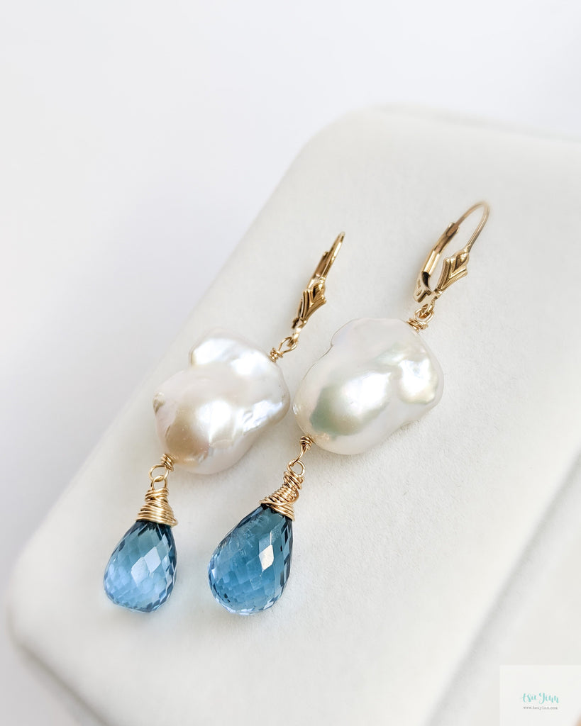 White Baroque Pearls Earrings (Gold) with London Blue Topaz briolettes
