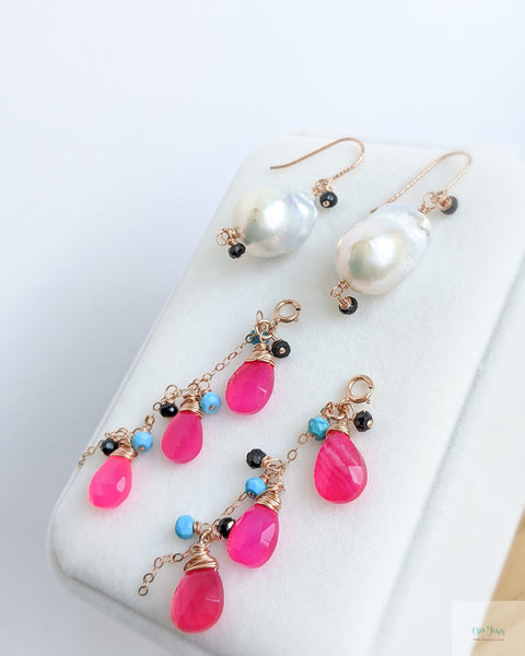 White Baroque Pearls Earrings with detachable gemstone chains (Rose Gold) - Hot Pink Chalcedony, Turquoise and Black Onyx