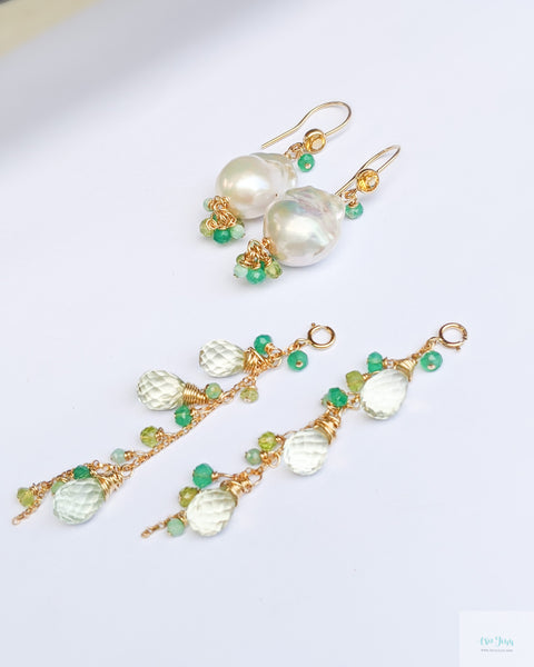 White Baroque Pearls Earrings with detachable gemstone chains (Gold) - Green Onyx, Green Amethyst, Peridot, Amazonite