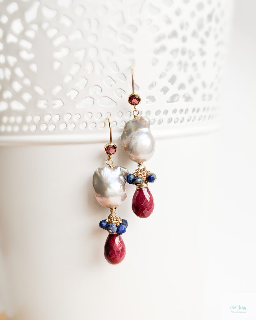 Mini Grey Baroque Pearls Earrings (Gold) - Garnet, Ruby and Lapis Lazuli
