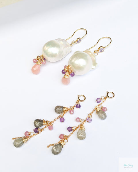 White Baroque Pearls Earrings with detachable gemstone chains (Gold) - Pink Opal, Labradorite, Purple Amethyst, Pink Tourmaline