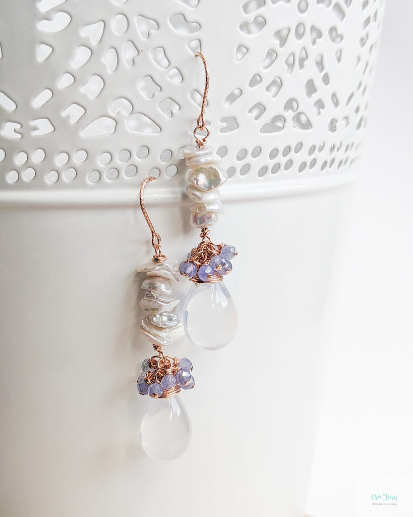 Keshi Pearl Stack Earrings (Rose Gold) - Blue Chalcedony and Milky Quartz