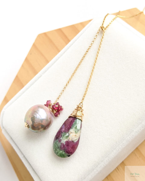 Mauve Pearl Long Lariat Necklace (Gold) - Ruby Zoisite and Rubies