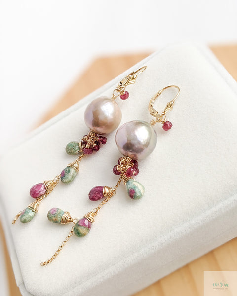 Mauve Pearl Earrings (Gold) - Ruby Zoisite and Rubies