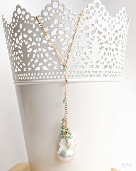 White Baroque Pearl 'Y' Necklace (Gold) - Amazonite and Labradorite