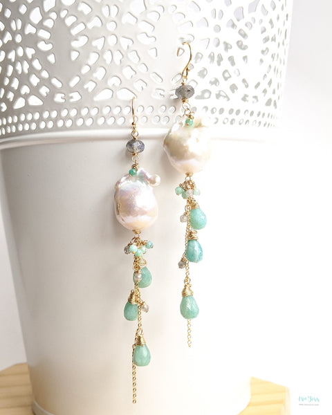 White Baroque Pearl Earrings (Gold) - Amazonite and Labradorite