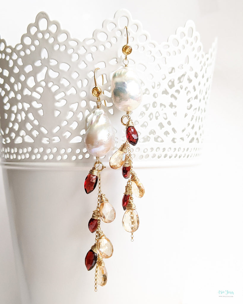 White Baroque Pearls Earrings with detachable gemstone chains (Gold) - Citrine and Garnet