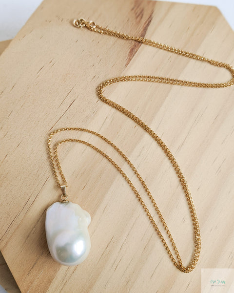 White Baroque Pearl Long Necklace (Gold)