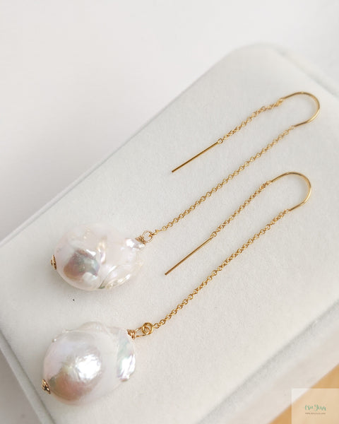 White Baroque Pearls 'U' Threader Earrings (Gold)