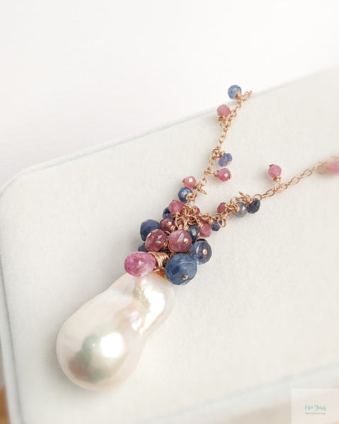 White Baroque Pearls Necklace (Rose Gold) - Blue sapphires and Pink Tourmalines