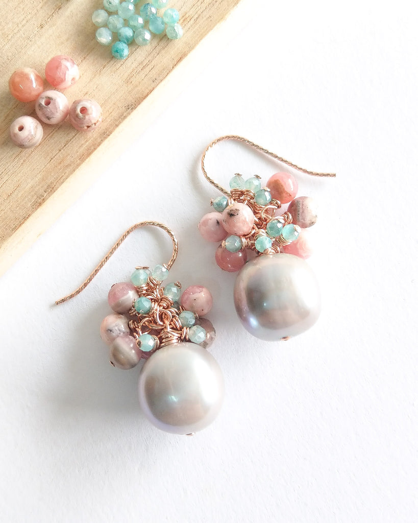 Grey Pearl Earrings (Rose Gold) - Pink Botswana Agate and Mystic Amazonite