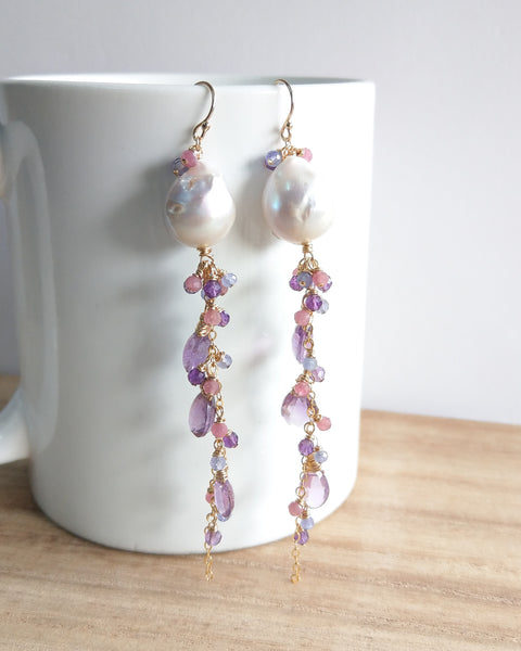 White Baroque Pearl Drizzle Earrings (Gold) - Pink Tourmaline, Amethyst and Tanzanite