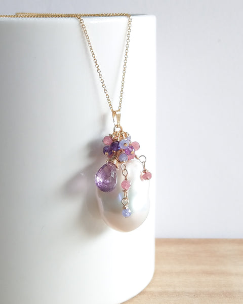 White Baroque Pearl Necklace (Gold) - Pink Tourmaline, Amethyst and Tanzanite