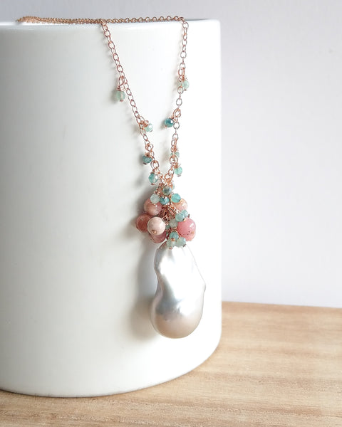 Grey Baroque Pearl Drizzle Necklace (Rose Gold) - Pink Botswana Agate and Mystic Amazonite