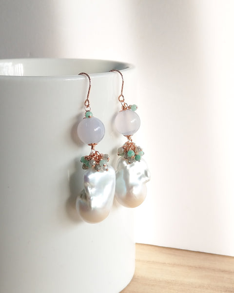 White Baroque Pearl Earrings (Rose Gold) - Labradorite, Mystic Amazonite and Blue Chalcedony