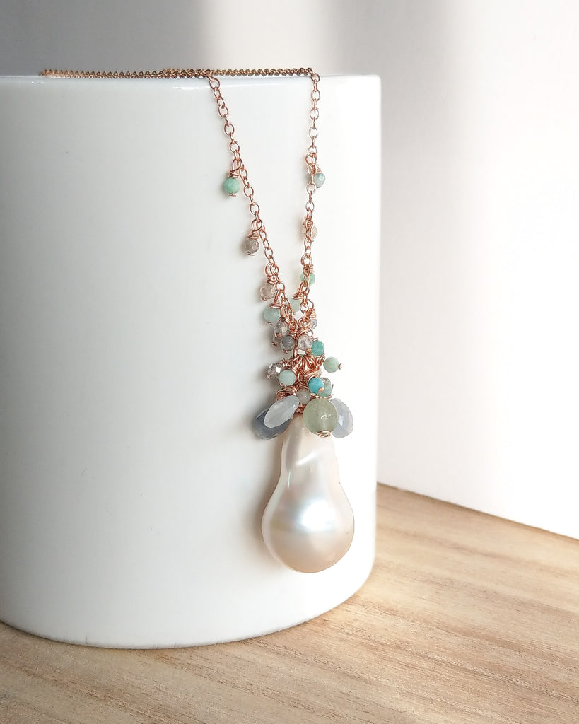 White Baroque Pearl Drizzle Necklace (Rose Gold) - Labradorite, Mystic Amazonite and Sapphire