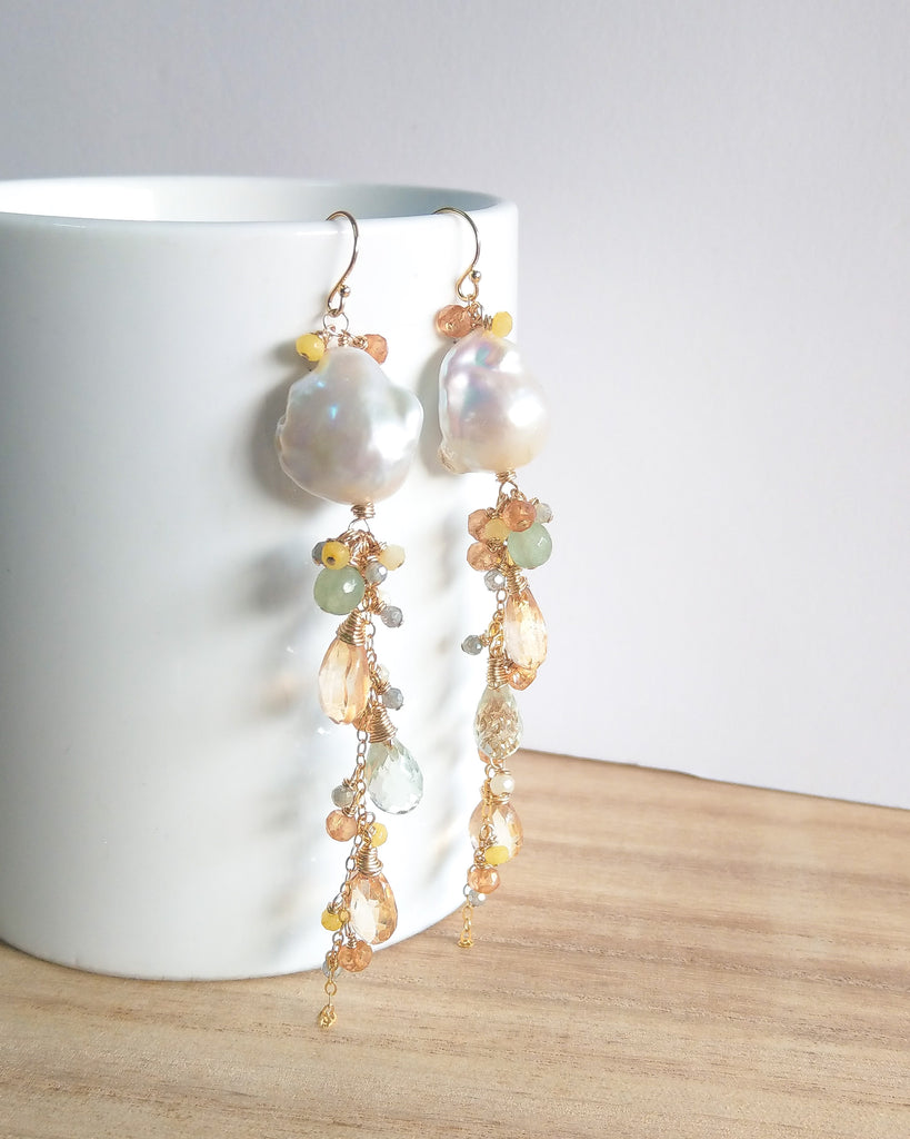 White Baroque Pearl Drizzle Earrings (Gold) - Citrine, Yellow Chalcedony, Labradorite and Green Amethyst