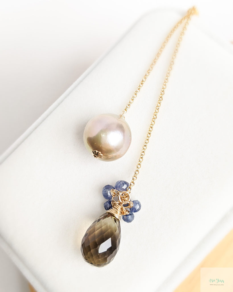 Mauve Pink Pearl and Smokey Quartz Lariat Necklace  (Gold) - blue sapphire and smokey quartz