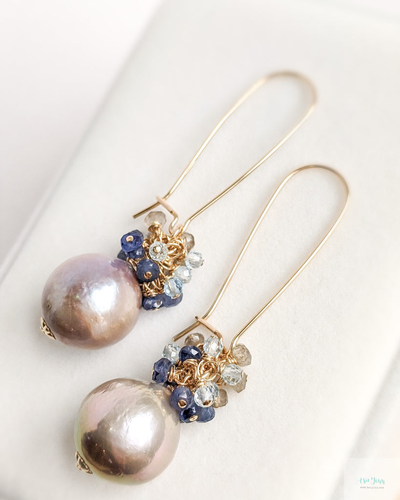 Mauve Pink Pearl Earrings on kidney ear hooks (Gold) - Blue Sapphire, Swiss Blue Topz and Smokey Quartz