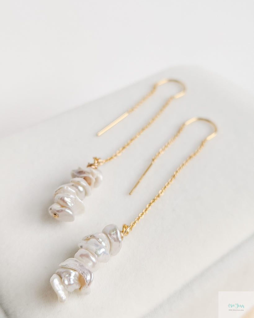 Keshi Pearls U Threader Earrings (Gold)