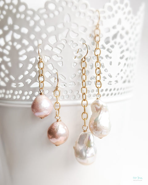 Pearls on textured gold chain (Gold) - 2 options