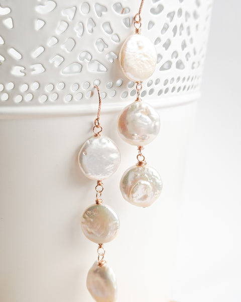 Coin Pearl Earrings (Rose Gold)