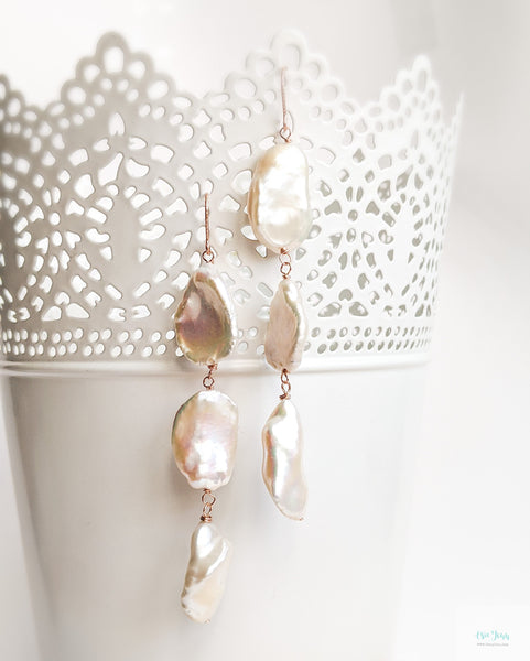 Large Keshi Pearl Earrings (Rose Gold) - A