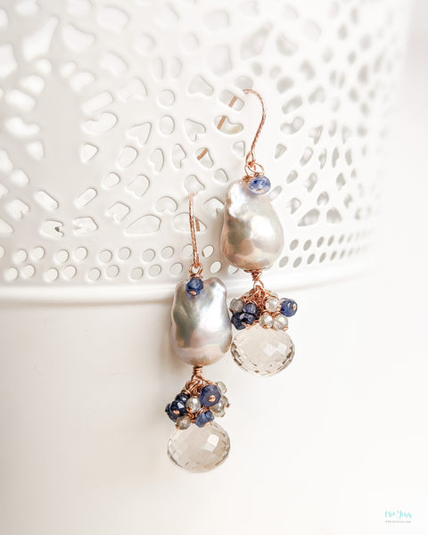 Grey Baroque Pearl Earrings (Rose Gold) - Smokey Quartz, Blue Sapphires, Labradorite