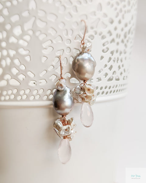 Grey Baroque Pearl Earrings (Rose Gold) - Rose Quartz and Keshi Pearls