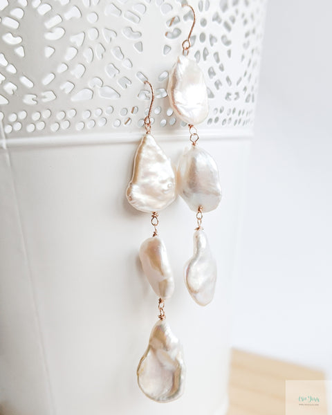Large Keshi Pearl Earrings (Rose Gold) - B