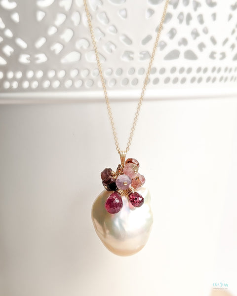 White Baroque Pearls Necklace (Gold) - tourmalines and garnet