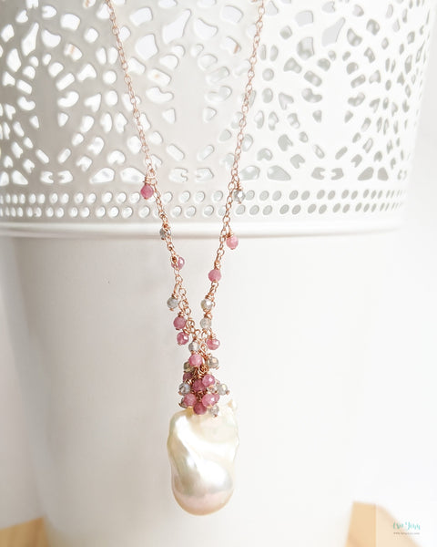 White Baroque Pearl Drizzle Necklace (Rose Gold) - Pink Tourmaline and Labradorite