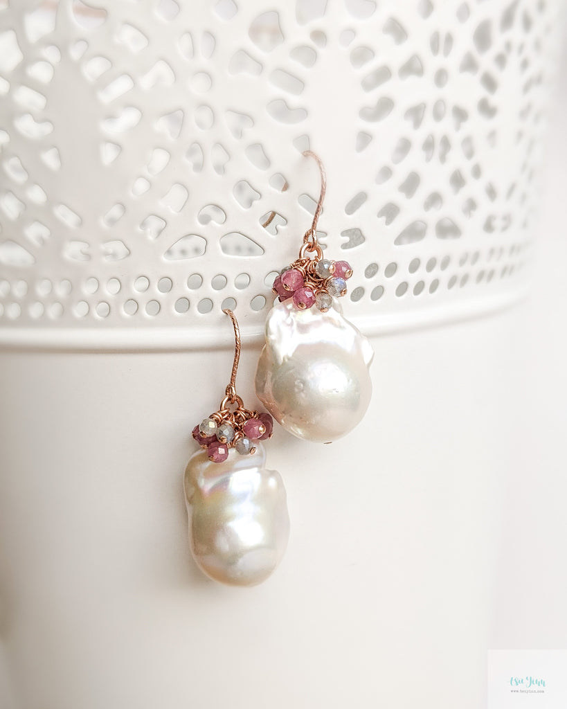 White Baroque Pearl Earrings (Rose Gold) - Pink Tourmaline and Labradorite