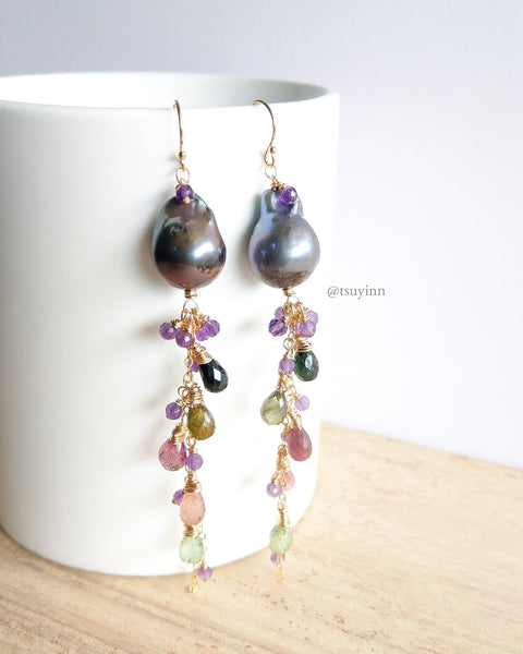Black Baroque Pearl Drizzle Earrings (Gold) - Amethyst and Tourmaline