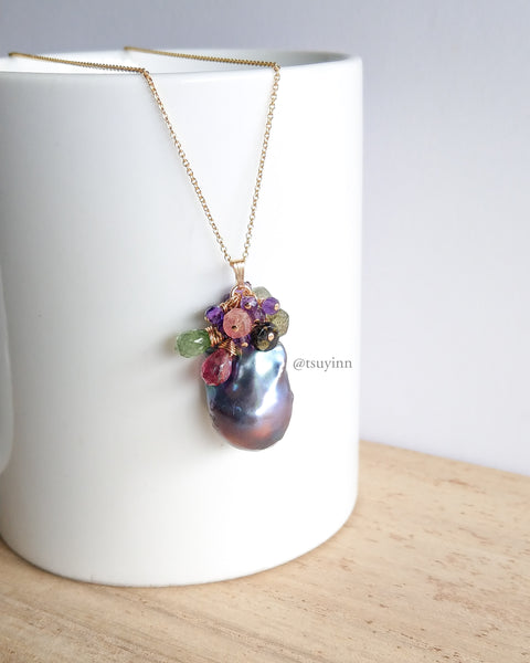 Black Baroque Pearl Necklace (Gold) - Amethyst and Tourmaline