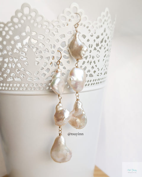 Large Keshi Pearl Earrings (Gold) - C