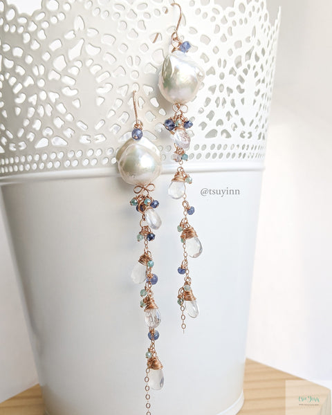 White Baroque Pearls Earrings with detachable gemstone chains (Rose Gold) - Blue Sapphire, Mystic Amazonite and Milky Quartz