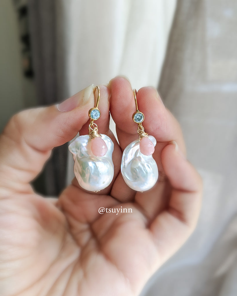 White Baroque Pearl Earrings (Gold) - Pink Opal and Swiss Blue Topaz