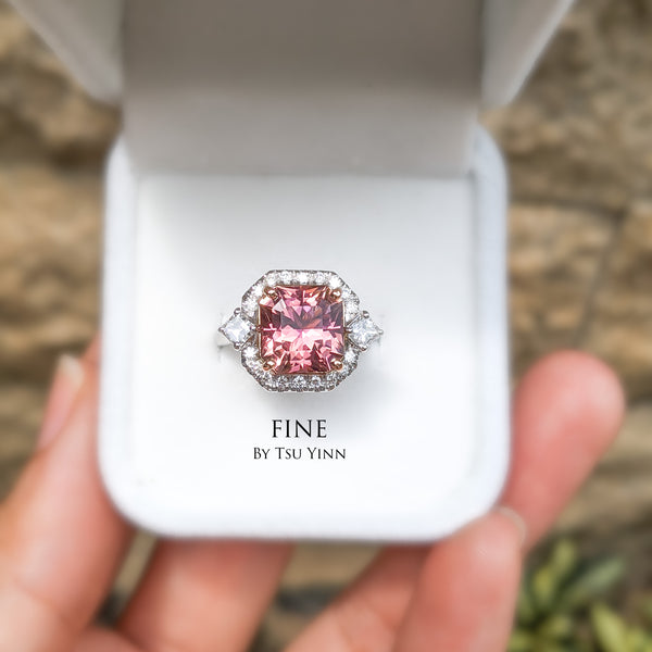 4+ cts pink tourmaline ring with asscher cut diamonds and diamond halo