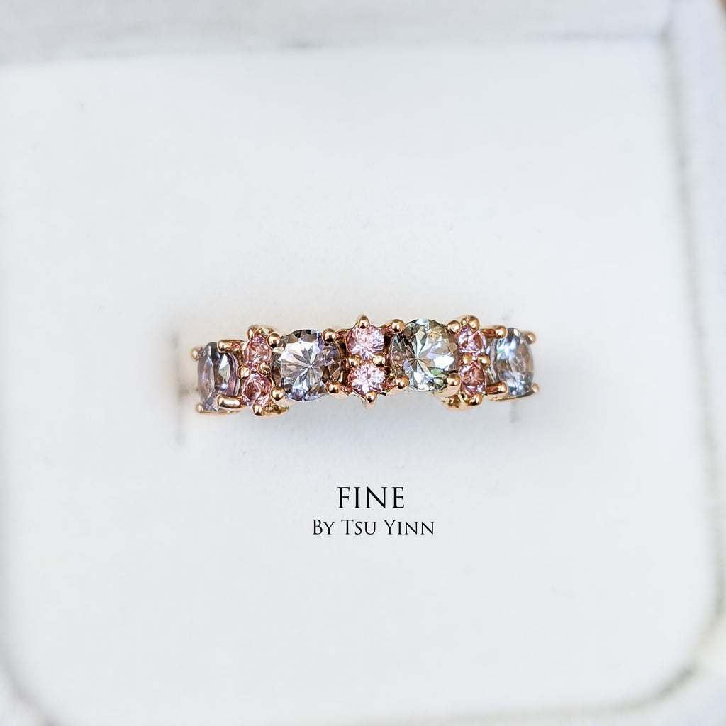 Tanzanite and pink spinels band