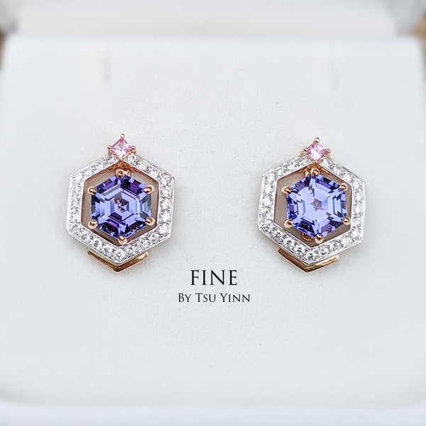 Swivel Halo Earrings in heated hexagon tanzanites